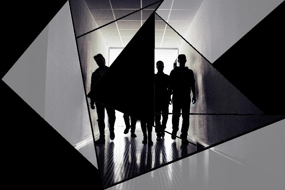 Puzzelteil 8 - Bandfoto - Stone Cold Love - 5 Personen im Schatten - Band im stilvoll beleuchteten Gang - preload Image 8