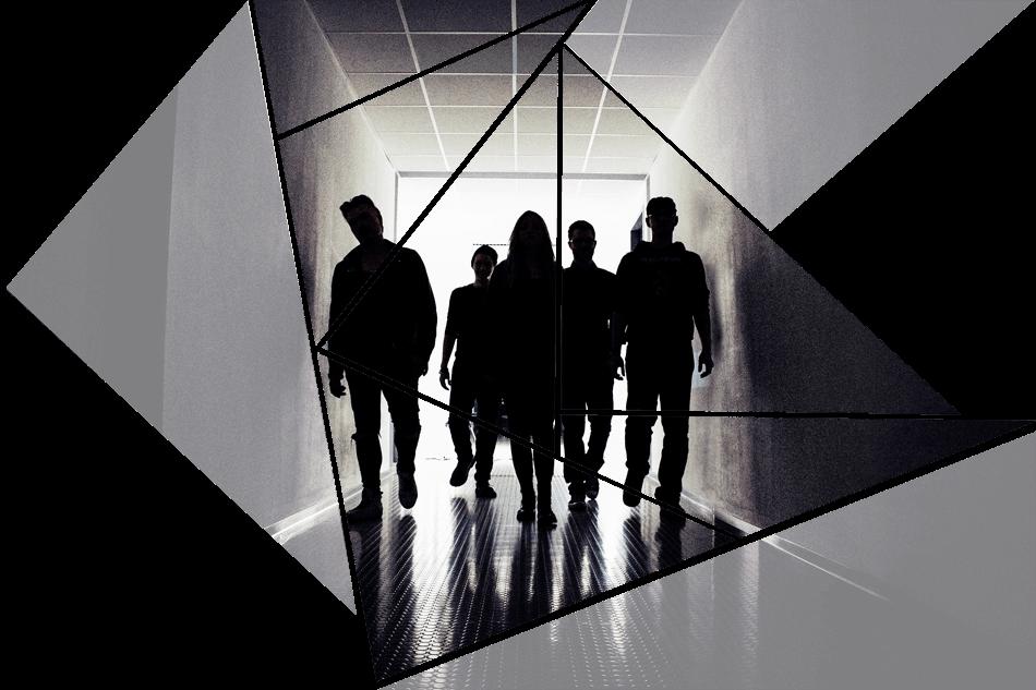 Puzzelteil 9 - Bandfoto - Stone Cold Love - 5 Personen im Schatten - Band im stilvoll beleuchteten Gang - preload Image 9